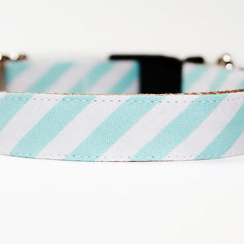 Dog Collar Aqua and White Stripes by JalinaColon on Etsy
