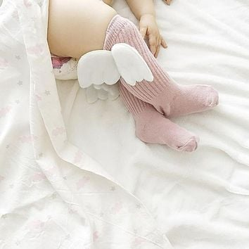 Newborn Baby Knee High Socks Angel Wings Pattern Cotton Sock Infant Autumn Winter Warm Children Leg Warmer