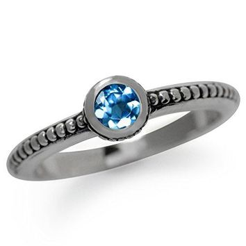 Genuine London Blue Topaz 925 Sterling Silver StackStackable BaliBalinese Style Ring
