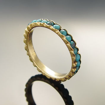 Turquoise Gemstone Engagement ring, 14K Yellow gold ring, Stacking ring, Vintage Wedding band, Gold and Turquoise band, dainty ring sale