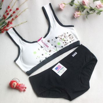 Sport Teenage Underwear Bra Set Cartoon Lingerie Kids Cotton Young Girls Training Bras Wireless Teenage Underwear Bra for Kids