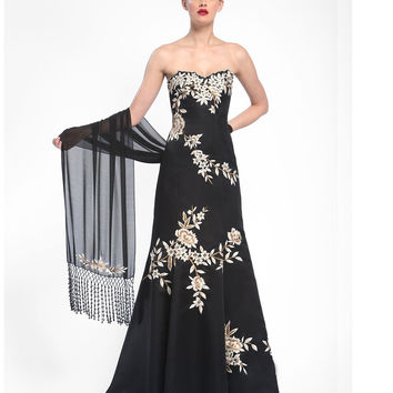 Sue Wong N5362 Black & White Floral Embroidered Strapless Long Dress Fall 2015