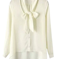 Off White Bow Tie V-Neckline Long Sleeve Chiffon Blouse