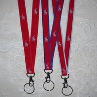 Preppy Red Blue Polo Pony Ribbon Lanyard 3 Versions