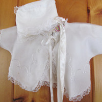 2 Pc Baby 9 12 Months White Baby Bonnet Baby Shrug Vintage Baby 2pc Outfit Vintage Baby Clothes