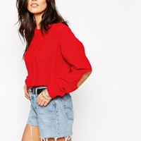 Glamorous Longline Cable Knit Jumper with Elbow Patches at asos.com