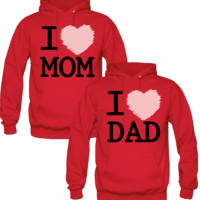 I LOVE MOM I LOVE DAD DESIGNED Couple Hoodie