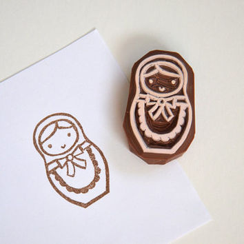 Hand Carved Rubber Stamp / Russian Doll / Matryoshka