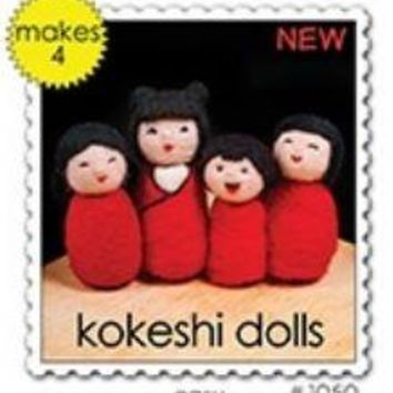 Woolpets Kokeshi Dolls Wool Needle Felting Craft Kit -Beginner/Easy Level