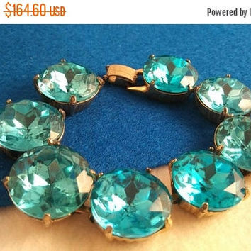 On Sale Aqua Vintage Huge Headlight Rhinestone Bracelet Chunky Wide Turquoise  1950's 1960's Retro Rockabilly Vintage Jewelry Collectible