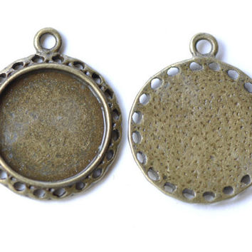 Pendant Tray Blank Antique Bronze Cameo Base Settings Match 15mm Cabochon Set of 10 A8176