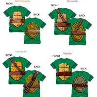 TMNT Teenage Mutant Ninja Turtles Striped Sleeves Boys Costume T-shirt