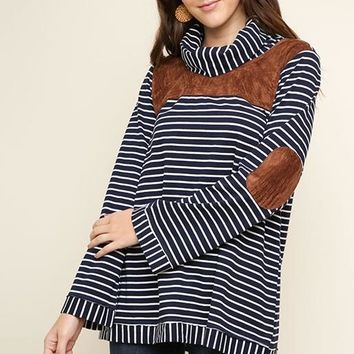 Umgee Stripes & Suede Top - Navy