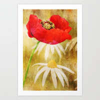 Poppies and Daisies Art Print by Clare Bevan Photography