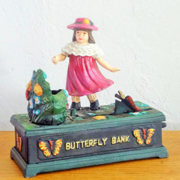Cast Iron Mechanical Butterfly Bank, Collectible Bank