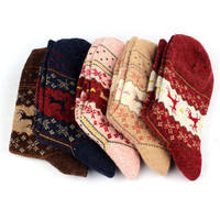 Newly Design Christmas Deer Moose Design Casual Warm Winter Knit Wool Socks For Mens Women  June29