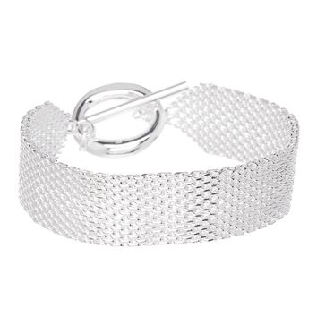 Alma Mesh Bracelets 925 Sterling Silver Plated- Bracelets for Women- Sterling Silver Bracelets for Women- Mothers Day