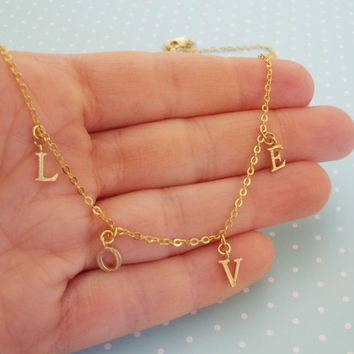 Love necklace, dainty love necklace, dainty gold letter necklace, gift for her