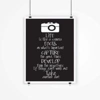 Printable Quote, Art, Wall Decor, Photography, Printable Quote Art, Inspirational, Life is like a camera, Photographer Gift,Instant download