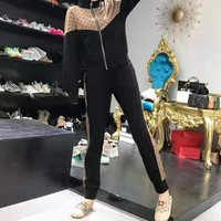 """"""" LOUIS VUITTON"""" Woman's Leisure Fashion Letter Personality Printing Zipper Spell Color Long Sleeve Hooded Tops Trousers Two-Piece Set Casual Wear"""