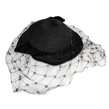 1950s Black Cocktail Hat by Emme, Coordinating Hat Pin