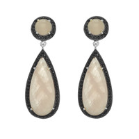 Drop Faceted Rose Quartz Earrings Surrounded By Black Spinels In Rhodium Plated Sterling Silver