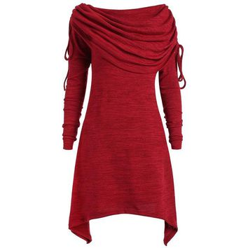 Tops and Tees T-Shirt Gamiss Red Long Shirts Long Foldover Collar Plus Size Ruched T-shirts New Fashion Women  Casual Blusas Mujer Big Size 5XL AT_60_4 AT_60_4