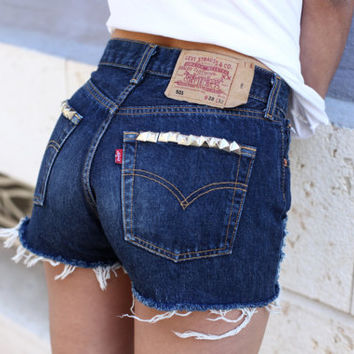 BRONX high waisted used distressed frayed and studded by Deadenim