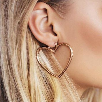 ESBONDO Exaggerated temperament hollow size love two-piece earrings can be split