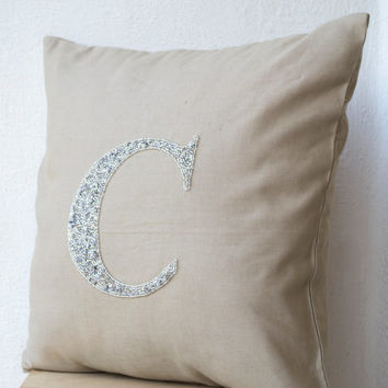 Decorative pillow in linen- Customized silver sequin monogram pillow -Personalized throw pillows -Gray linen pillow - 16X16- Initial pillow