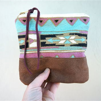 Tribal Native and Leather Pouch