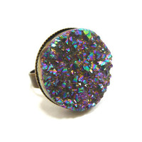 Titanium Quartz Rainbow MOON Druzy Ring v.3 by AstralEYE on Etsy