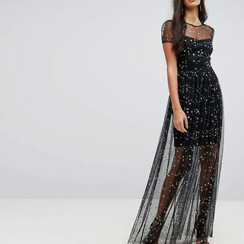 City Goddess Tall Overlay Chiffon Maxi Dress In Star Print at asos.com