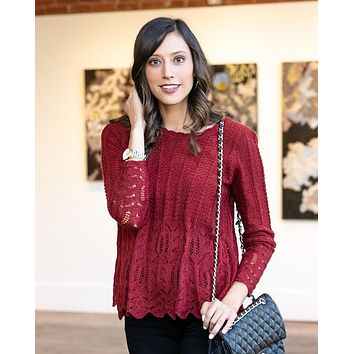 Grace & Lace Snowflake Sweater (Cranberry)