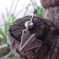 Paper Plane Belly Button jewelry Ring, Harry Styles, One Direction, 1D Belly Ring