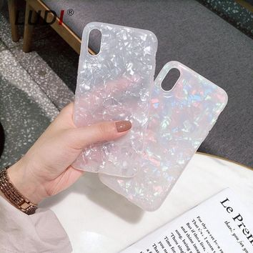 LUDI Pink & White Marble Phone Case for iPhone x 8 7 7plus Hipster Soft TPU Half-transparent Cover for iPhone6 6S 6/6sPlus