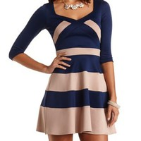 Three-Quarter Sleeve Scuba Skater Dress - Navy Combo