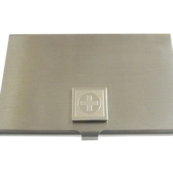 Silver Toned Etched Medical Cross Business Card Holder