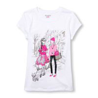 Girls Short Sleeve Glitter Dog Walker Fashionista Graphic Tee | The Children's Place