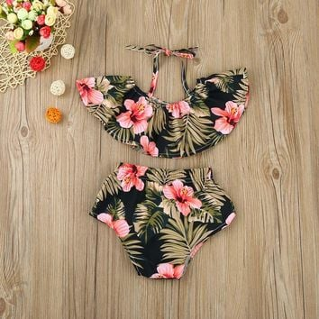 2PCS Set Kids Toddler Baby Girls Clothing Vest Tops Floral Shorts Pants Summer Baby Girl Clothes Outfits