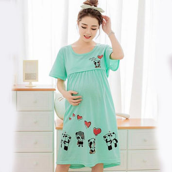 Cotton Nightgown Maternity Sleepwear Pregnant Women Nursing Breast Wear Lactation Clothing For Feeding Clothes