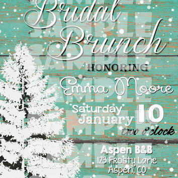 WINTER Bridal SHOWER INVITATION - Christmas Bridal Shower Invite - Winter Shower - Bridal Brunch - Snow Christmas Tree Wood Couples shower