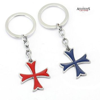 Assassins Creed Red Blue Cross Keychain For Car The Knights Templar Crucifix Assassin's Creed Key Chain Jewelry llaveros