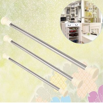 NEW Stainless Steel Adjustable Curtain Rod Extendable Spring Tension Curtain Rod Pole Window Curtain Shower Curtain Rod