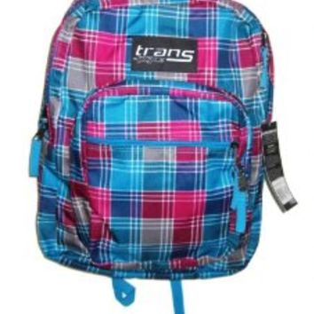 Trans By Jansport Backpack Supermax Aqua Pink Plaid Sport School Bag 2,200 Cu In. /36l