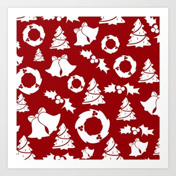 Red Christmas Background Art Print by PhotoVista360