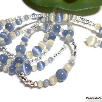 Beaded Lanyard for Id Badge Candlelight Cream and Denim Blue Handmade Necklace Jewelry with Angel and Strong Breakaway PinkCloudsAndAngels