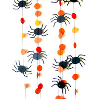 Spider Circle Garland - Orange and black Halloween garland, Bat garland, Circle Garland, Halloween decorations