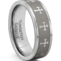 8MM Tungsten Carbide Silver Cross Mens Wedding Band Ring w/Laser Etched Celtic Design (Available Sizes 7-14 Including Half Sizes) (11)