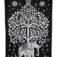 Elephant Tree Tapestry ,Good Luck White Elephant Tapestry , Hippie Gypsy Wall Hanging , Tree of Life Tapestry , New Age Dorm Tapestry (Multi/Black) (Black/White)
